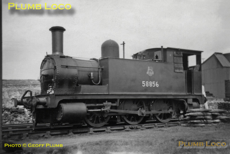 "From the Geoff Plumb Collection. Ex-NLR 0-6-0T No. 58856 stands at Middleton Top prior to taking part in the SLS/MLS ""High Peak Railtour"" on Saturday 25th April 1953. Photo by Derek Plumb."