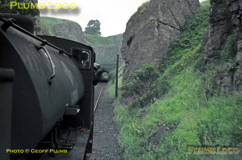 """Seen from the footplate of 68012, fellow J94 Class 0-6-0ST No. 68079 is double-heading the RCTS """"High Peak Railtour"""" towards Hopton Tunnel, having just descended the 1 in 14 Hopton Incline en route from Parsley Hay to Middleton Top. Saturday 27th June 1964. Slide No. 749."""