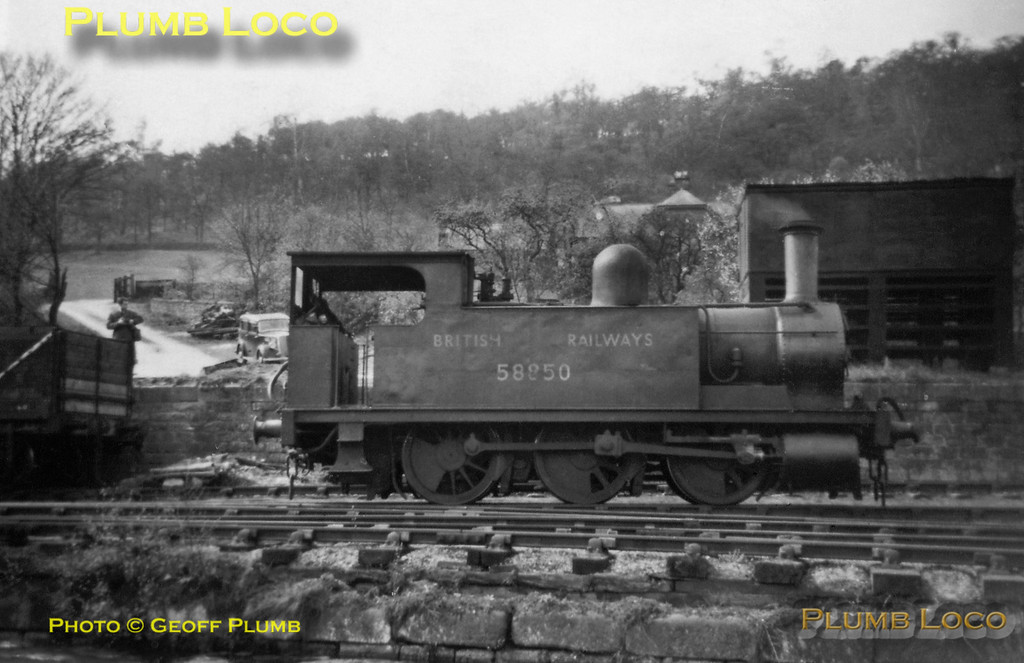 "From the Geoff Plumb Collection. Former North London Railway 0-6-0T No. 58850 at Cromford Wharf, seen during the SLS/MLS ""High Peak Railtour"" on Saturday 25th April 1953. I was there, but only just turned four years old! Photo by Derek Plumb."
