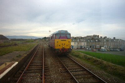 Seascale station, with Wessex Trains pink liveried 31601 heading north on a route learning trip to Carlisle.