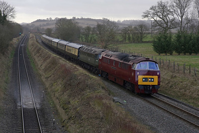The driver of D1015 can see two flashing yellows ahead of him, warning him to prepare to take the diverging route at  Princes Risborough as he approaches from the Saunderton direction with the 'Chiltern Champion' tour. 9/2/14