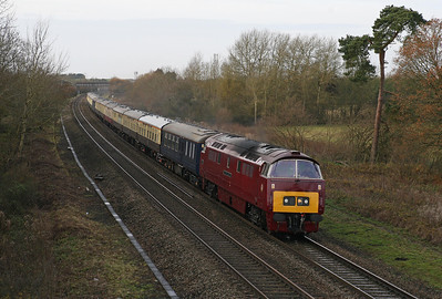 The 'Maybach Meanderer' tour from Crewe to Quainton Road speeds past Shrivenham on a dull December morning. 14/12/13