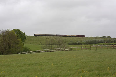 The unmistakeable outline of a 'Western' in the landscape: Under gloomy skies, D1015 'Western Champion' heads a short four coach rake past Winterbourne, forming Vintage Trains' 'The Western Lickeys the Banks' tour (1Z53 14.30 Plymouth to Tyseley). 10/5/14