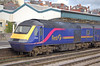 HST power car 43036 seen at Newport 13 November 2006. It is seen in First livery, one of many it has carried in its long life.And at the time it was still fitted with its Paxman Valenta engine.