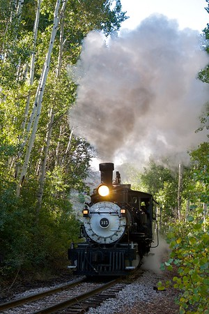 315 steams thorough the light and shadows of Aspen filtered sunshine.