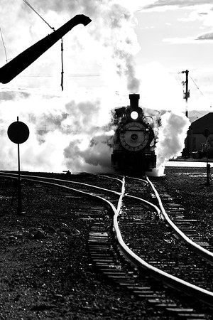 315 Thunders out of the Cumbres and Toltec's Antonito yards on a cool September morning.