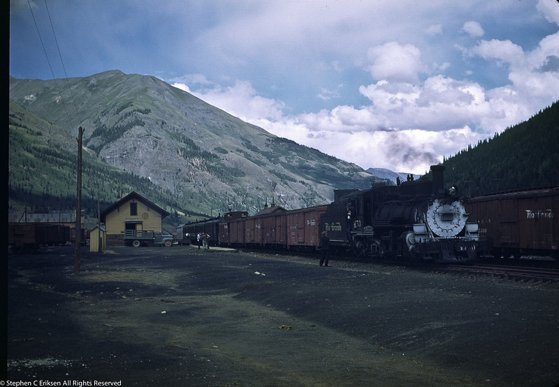 The Silverton mixed train, including the Silver Vista, sits in its namesake town awaiting departure in 1948 with K-27 #453 at the head end.
