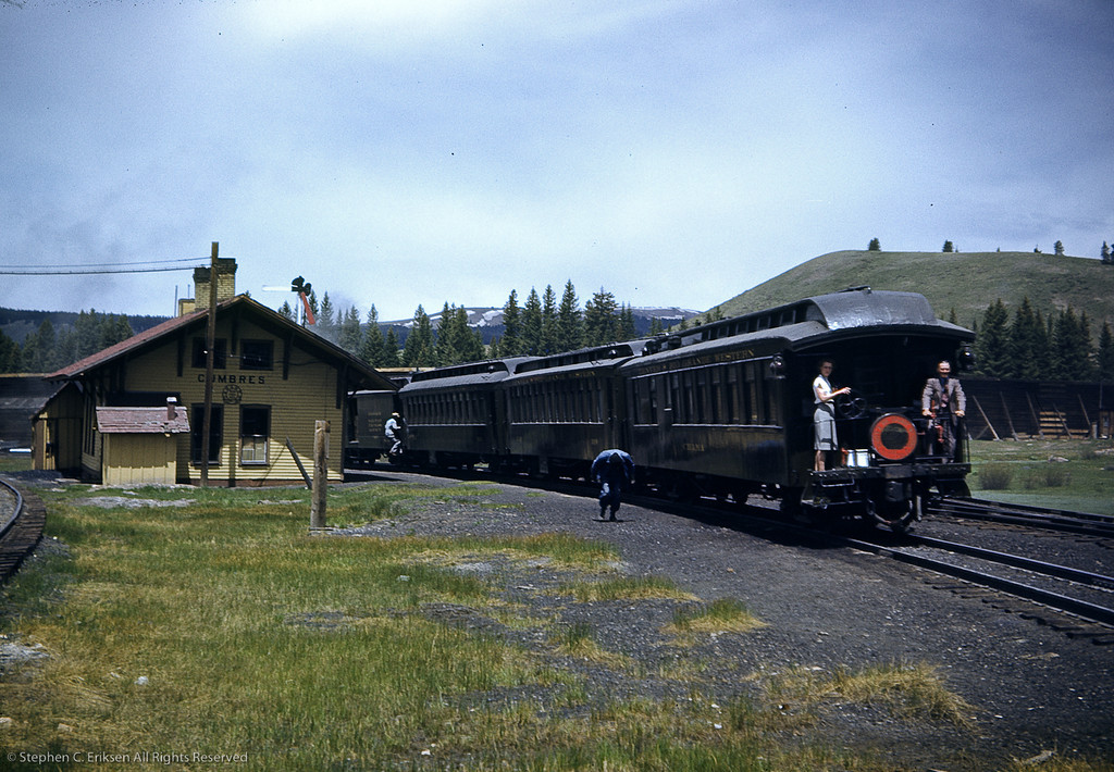 "June 5th, 1947 shot of the westbound ""San Juan"" at Cumbres.  Note the snowsheds!"