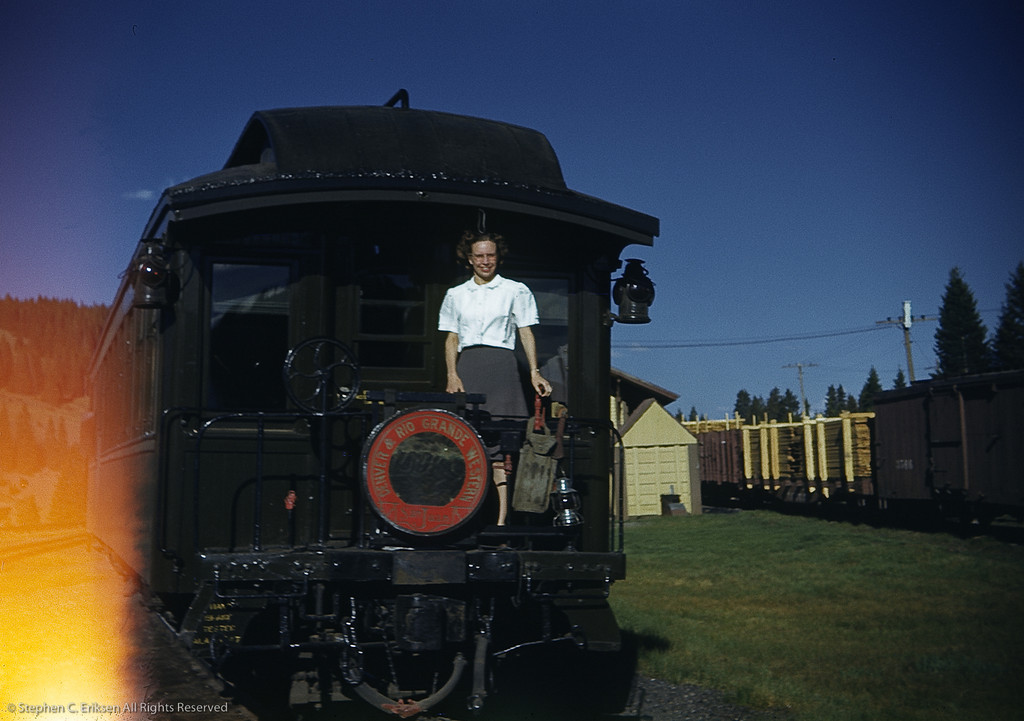 "June 4th, 1947; photo shows the rear of the ""San Juan"" parlor car ""Chama"" at the Cumbres depot."