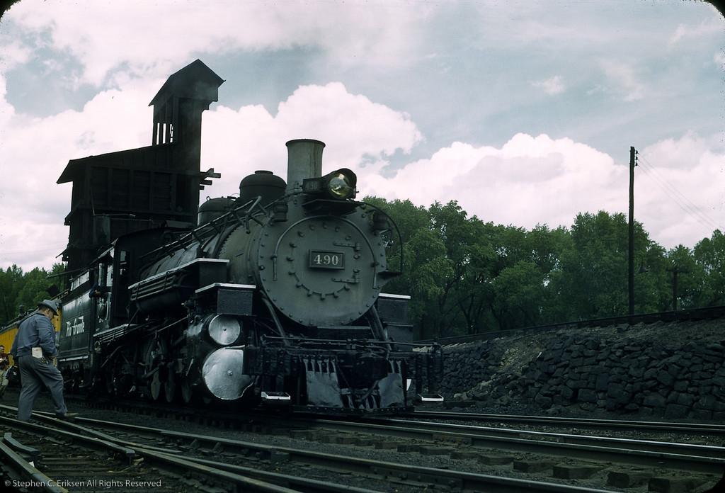 K-37 is resplendent in fresh paint in this 1956 view by the Chama coaling tower
