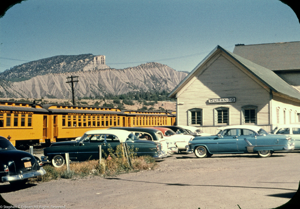 Check out the Detroit iron on display next to the Durango depot in the 1950's.