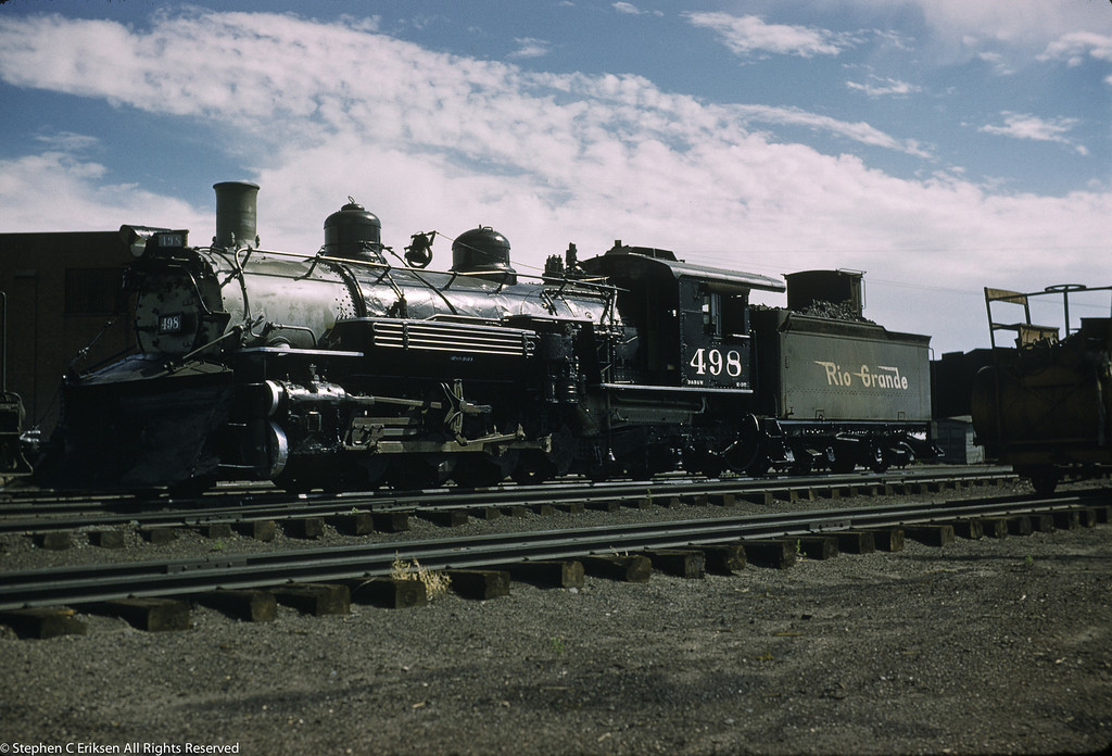 K-37 #498 rests near the roundhouse in Alamosa in August of 1958.
