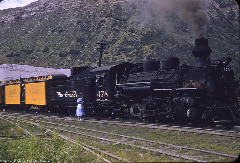 August 20, 1957 view of K-28 #478 in Durango.