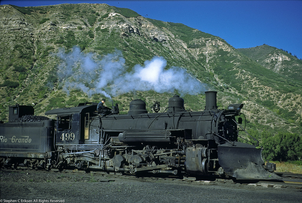 Great shot of K-37 #499 under steam in Durango in the 1950's.
