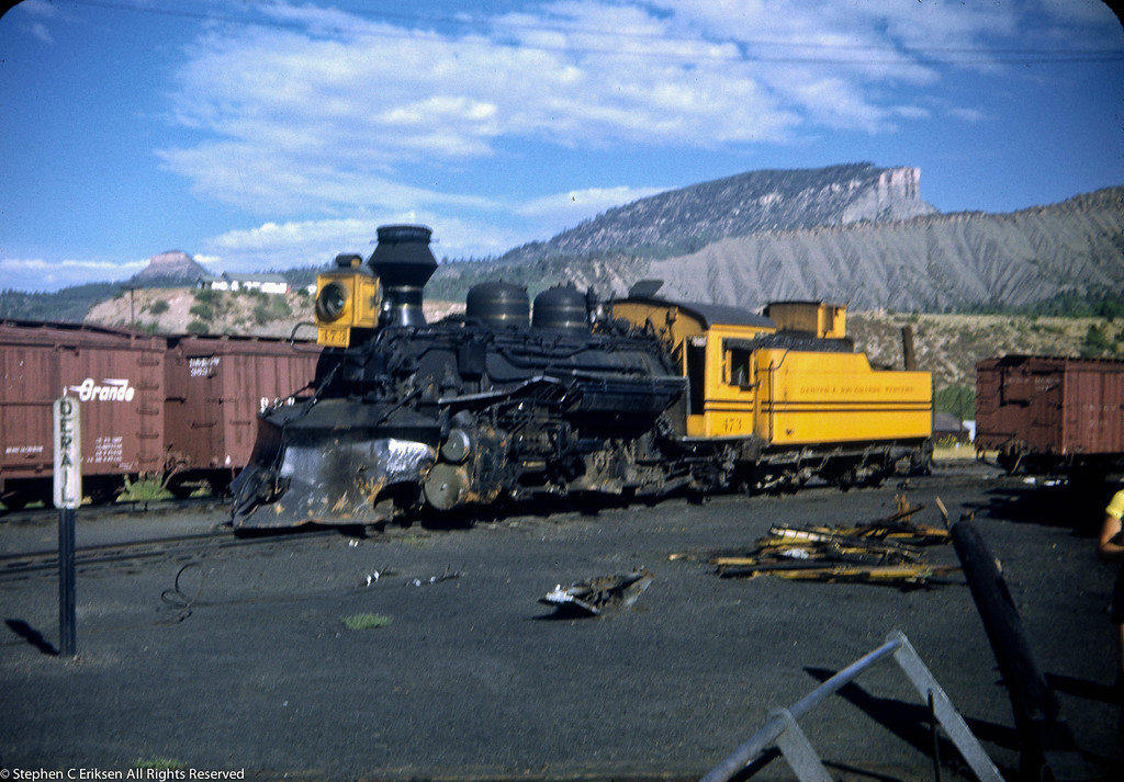 Early 50's view of #473 with it's Rio Grande gold paint scheme looking a bit long in the tooth.