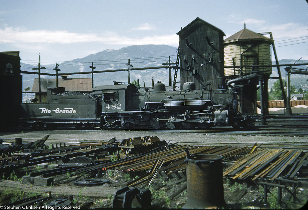 It is July of 1952 and K-36 #482 rests in the Salida yards.  Note the many yard details in this vintage view.