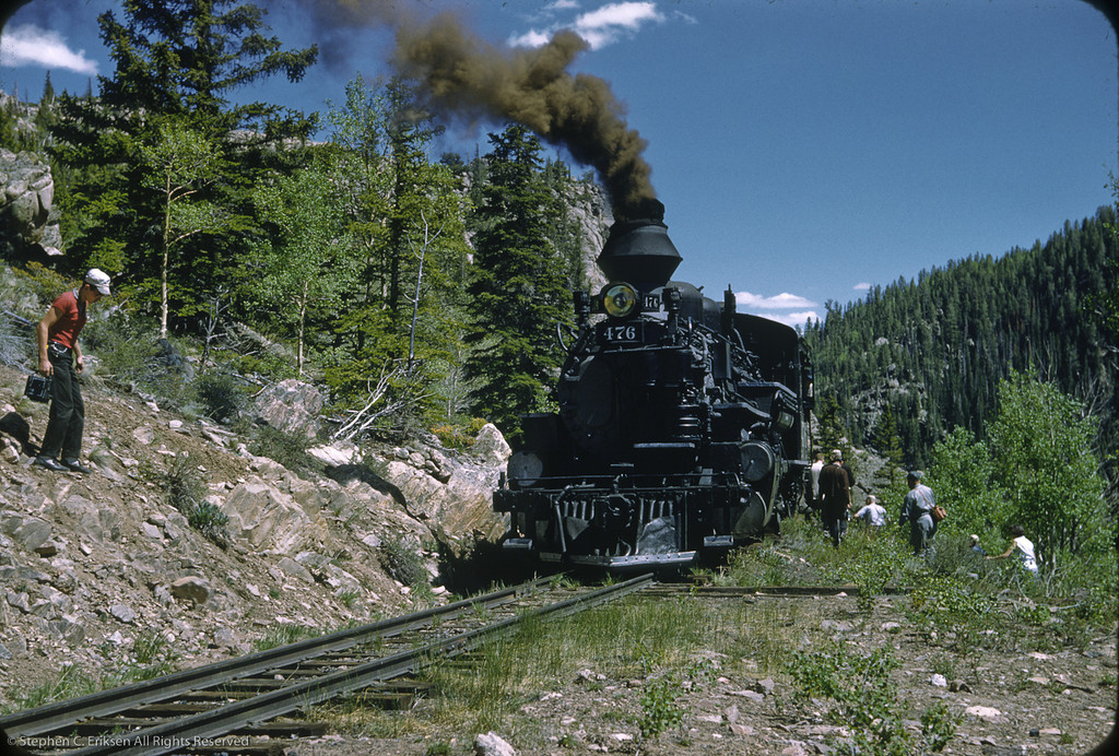 This shot at Toltec Gorge was taken on a special Alamosa to Durango train run on June 9th, 1959.