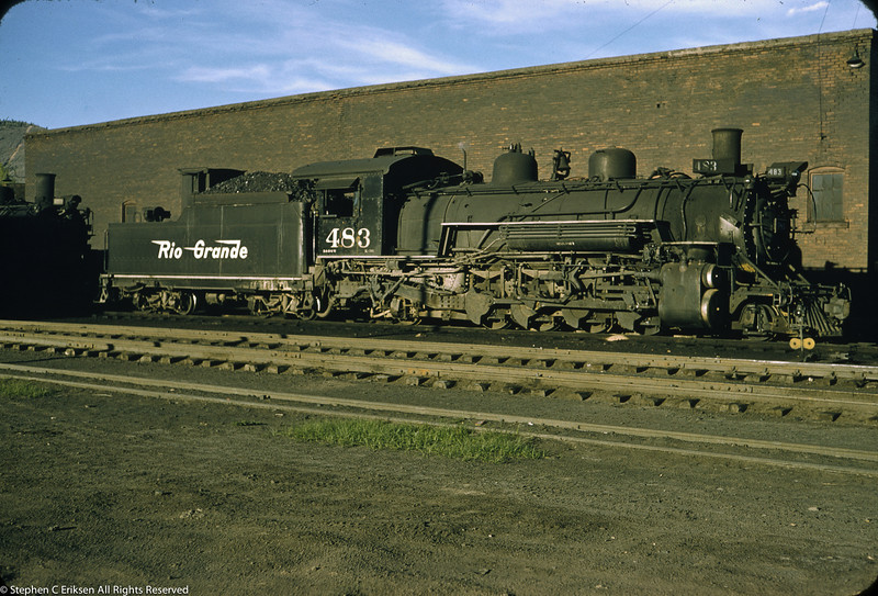 This June of 1957 view shows K-36 #483 in quiet repose. Years later this engine would be the early source of power for the C&TS RR.