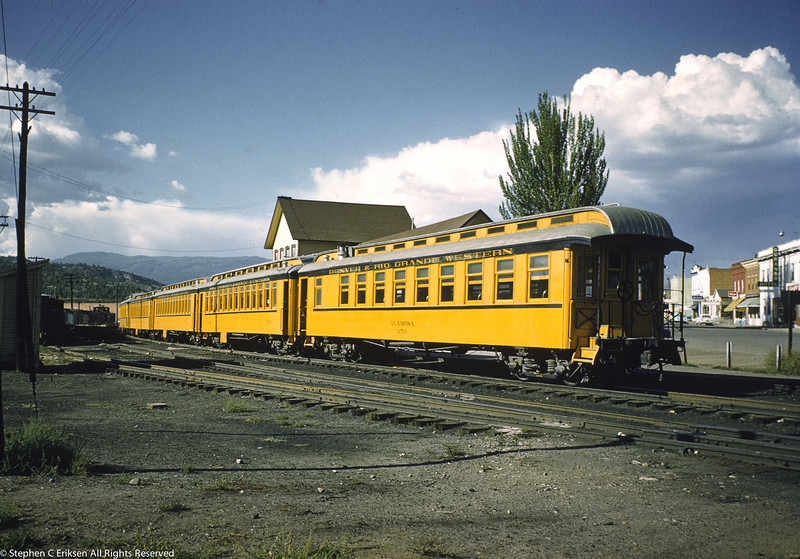 The parlor car Alamosa brings up the rear of the Silverton in this August 1959 shot in Durango.
