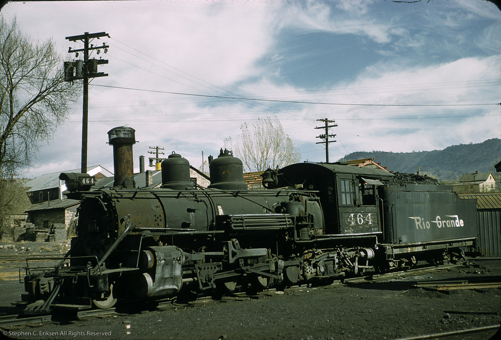 K-27 #464 sports a full load of coal in Durango in this view taken on November 5th, 1958.