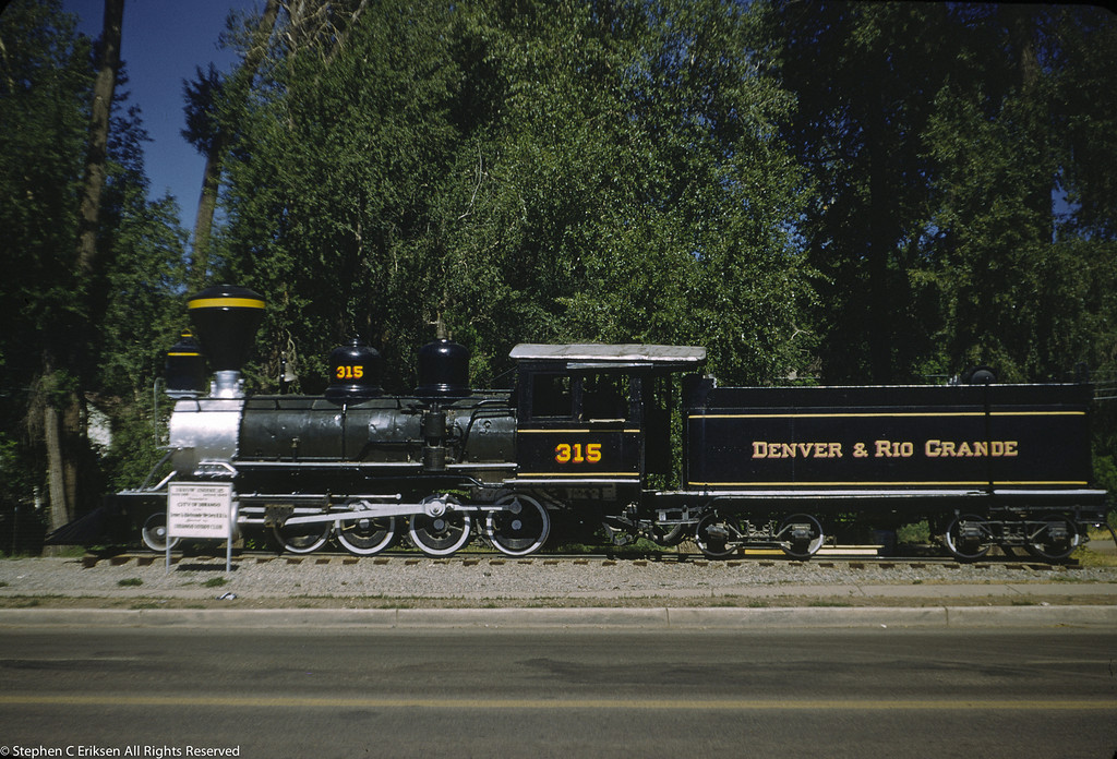 Here is another shot of #315 on display along Route 550, the Million Dollar Highway, in Durango Colorado in July of 1955
