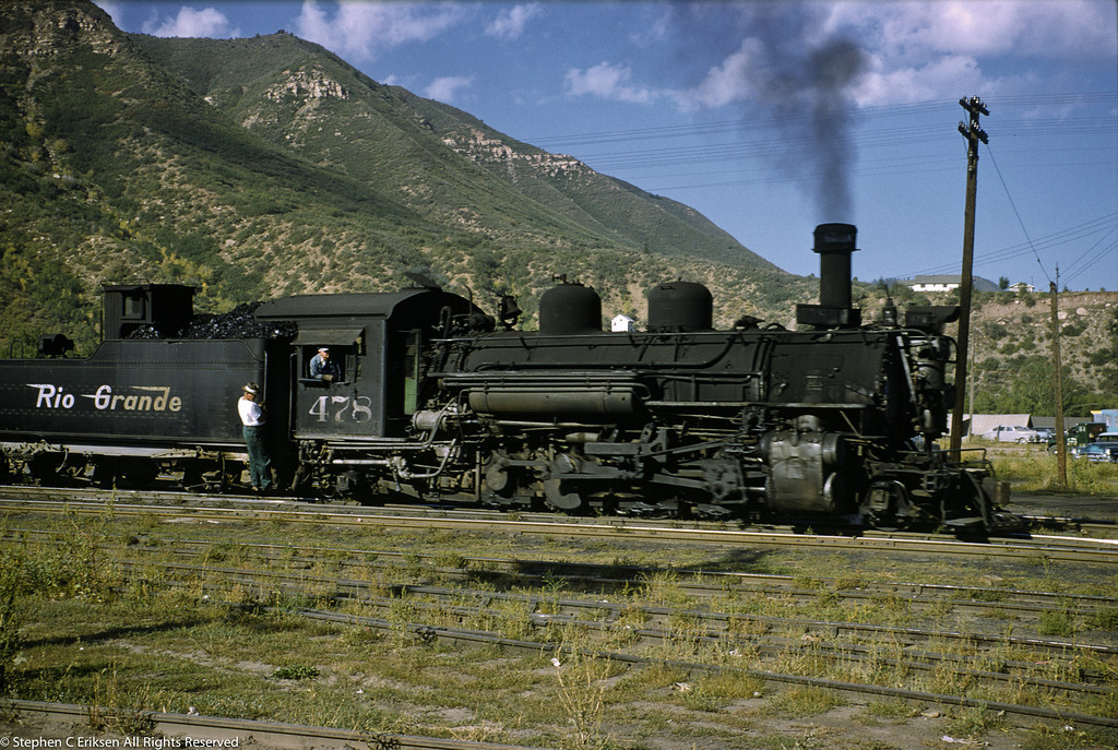 K-28 #478 cruises through the Durango yards in 1955.