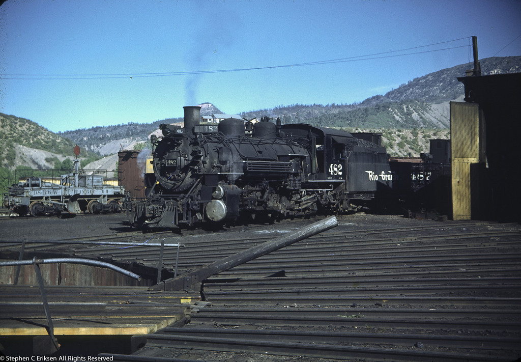 K-36 #482 alongside the Durango roundhouse in the 1950's