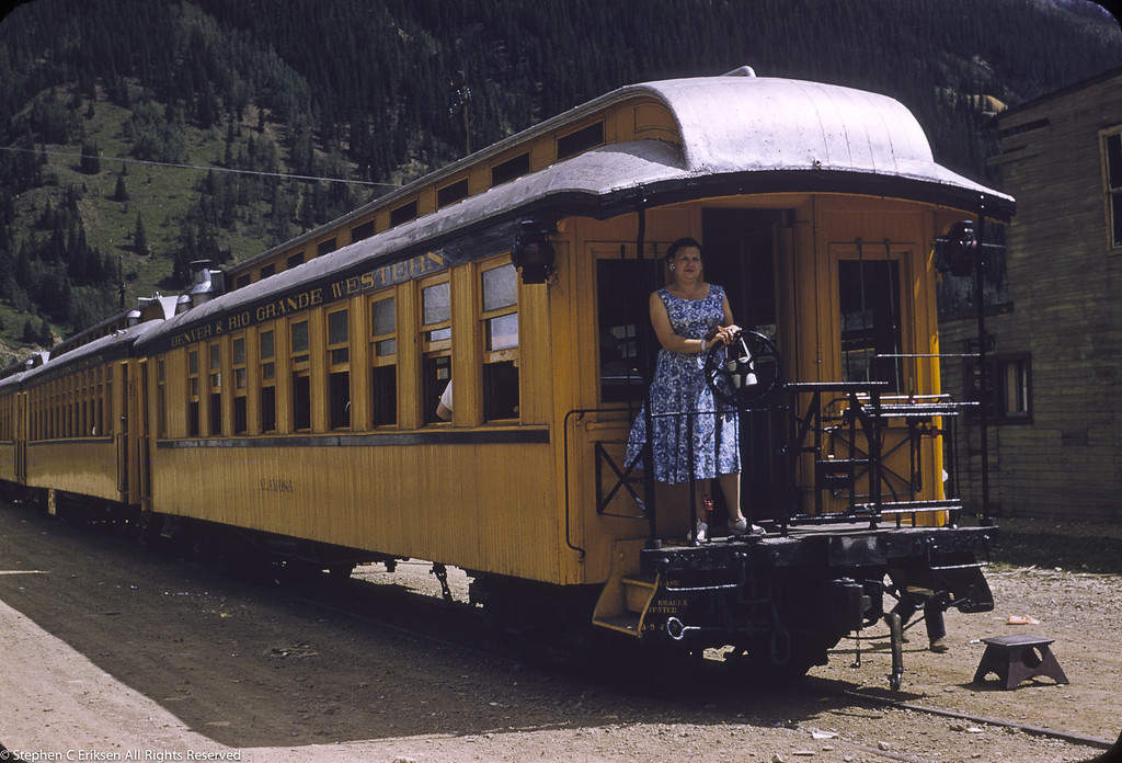The Silverton train has turned and is nearly ready to leave its namesake town for Durango. August 19, 1957,