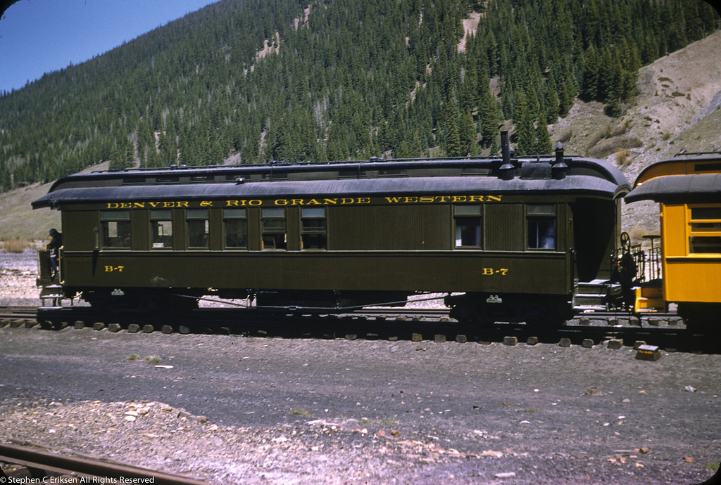 May 29, 1955 Silverton, CO business car B-7, resplendent in Pullman Green paint.