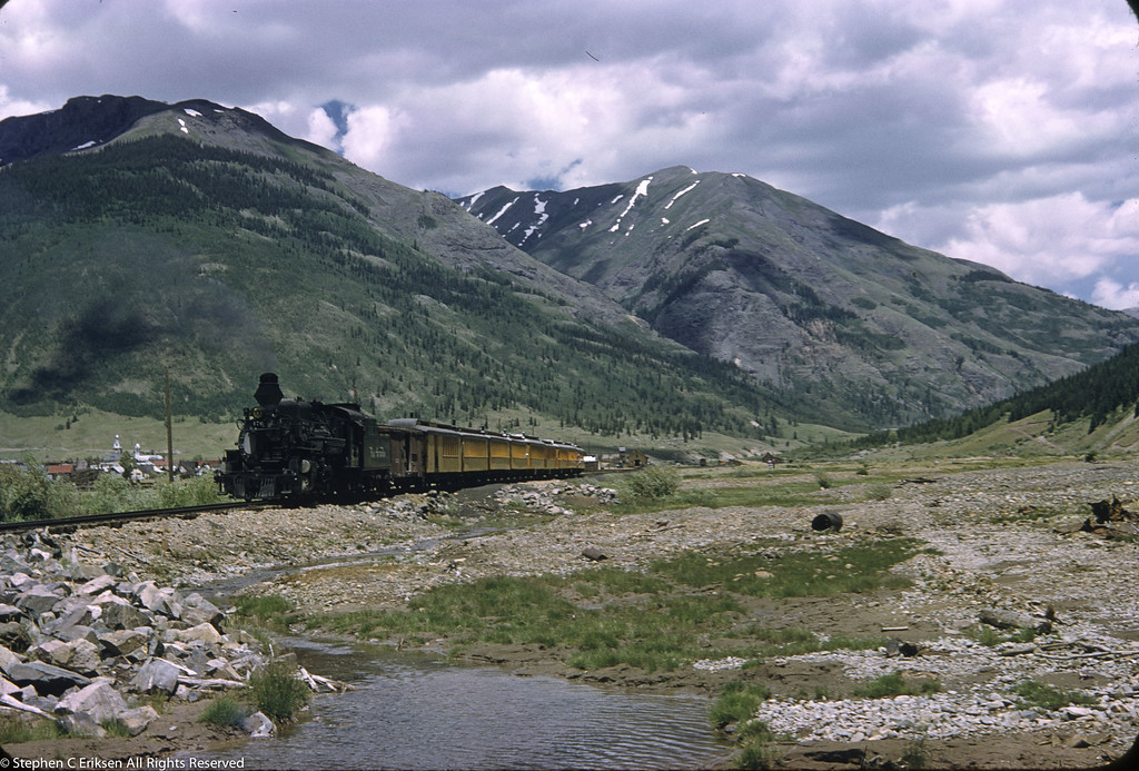 Late 1950's view leaving Silverton, Colorado.