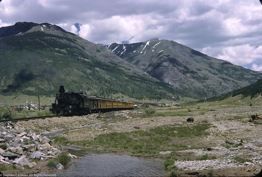 Late 1950's view leaving Silverton, Colorado.