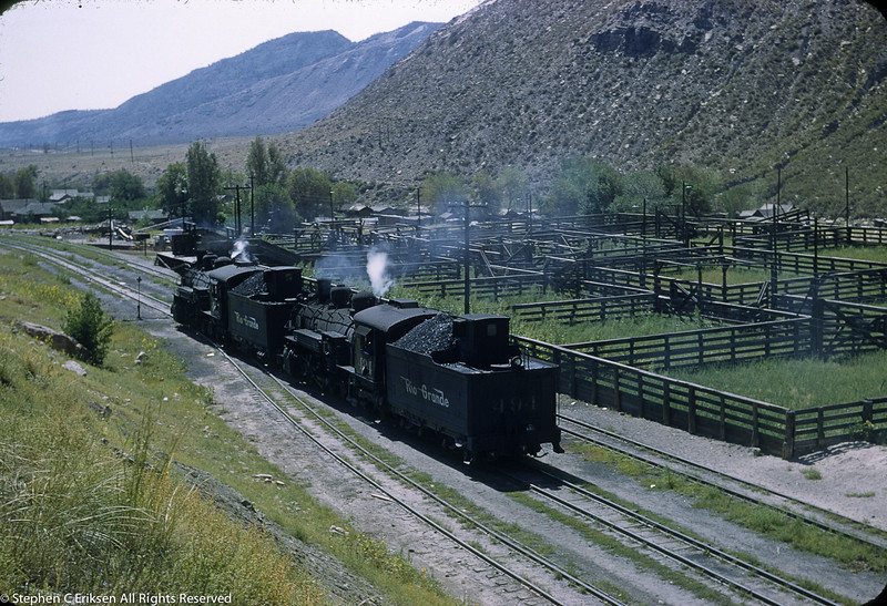 K-37's 497 and 484 have full loads of coal in this 1951 view as they doublehead past the cattle pens.