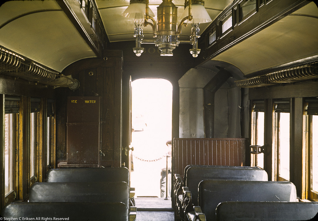 This shot shows the interior of coach 300, complete with reversible seats and gas lamps.