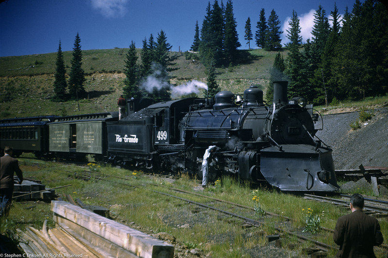Lubricating the valve gear on K-37 #499 on Marshall Pass.