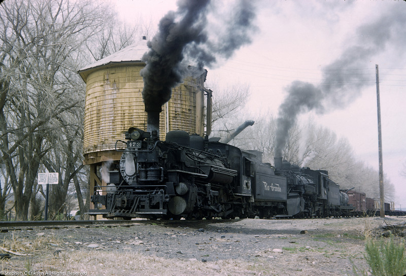 May 3, 1956 shot of a double headed freight as it paused for water in La Boca, Colorado.