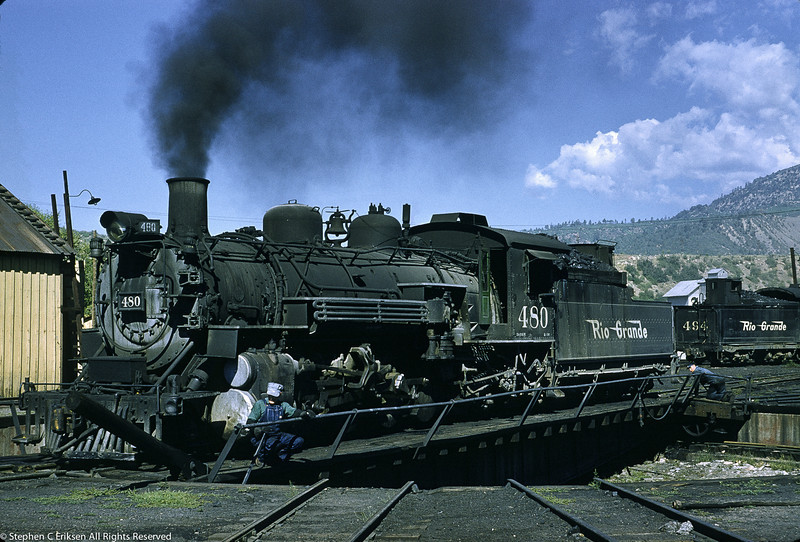 It is August 24, 1958 and K-36 number 480 takes a turn on the Durango turntable, a sight that can be repeated today.