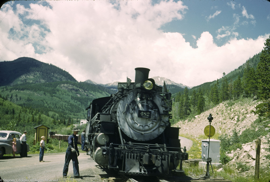 I love this 1950's shot of K-36 #482.  Check out the clothing and vehicle in this view of the Monarch branch in Colorado.