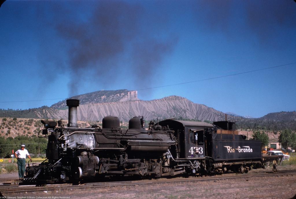 On June 26, 1958, H. F. Stewart captured this shot of K-28 #473 in Durango.