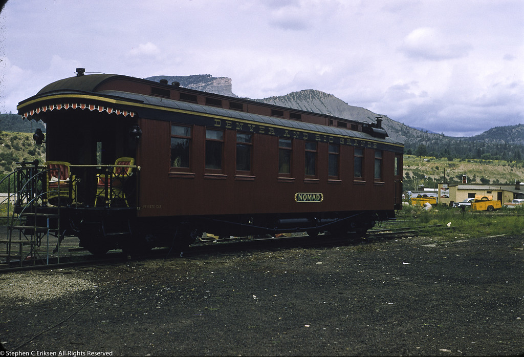 Check out the chairs on the rear platform of the private car Nomad on August 19, 1957 in Durango