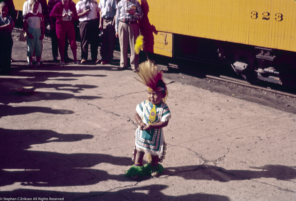 Native American child in traditional dress.  No doubt a crowd pleaser!  August 6, 1959.