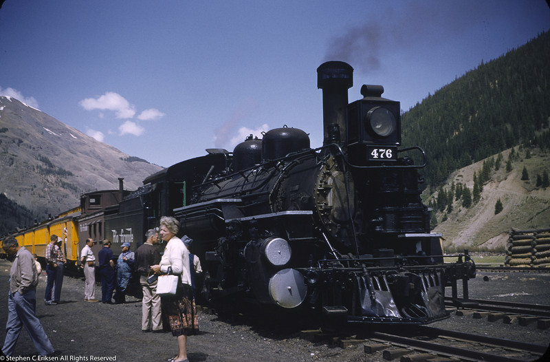 K-28 #476 with the Silverton in the train's namesake town in this fine shot from June 12, 1955.