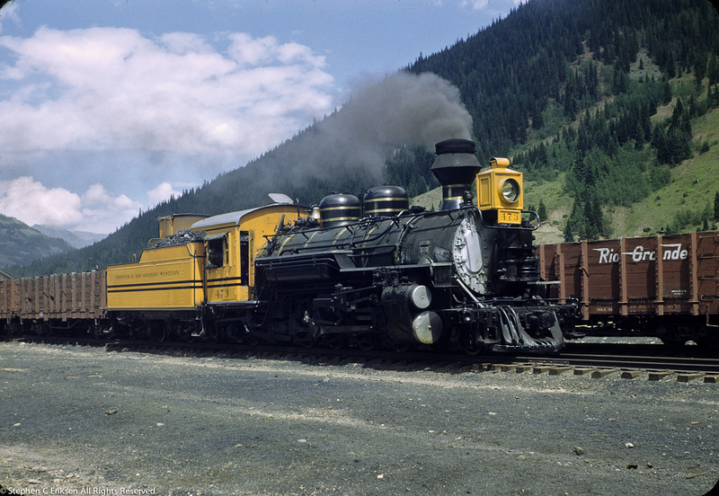 This July 1950 shot shows #473 in its month old special Rio Grande Gold paint scheme, recreated later by the D&SNG.