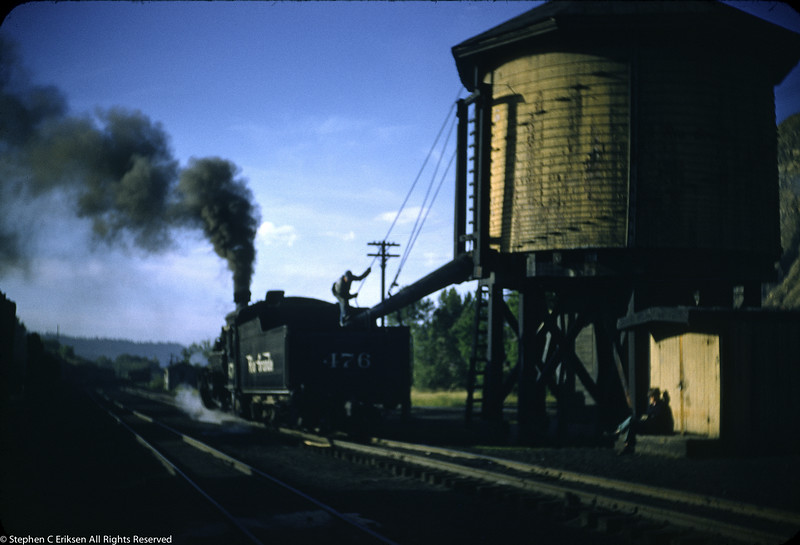 This view is not in great focus but I like the atmosphere of the shot as K-28 #476 takes on water in the Durango yard in 1956.