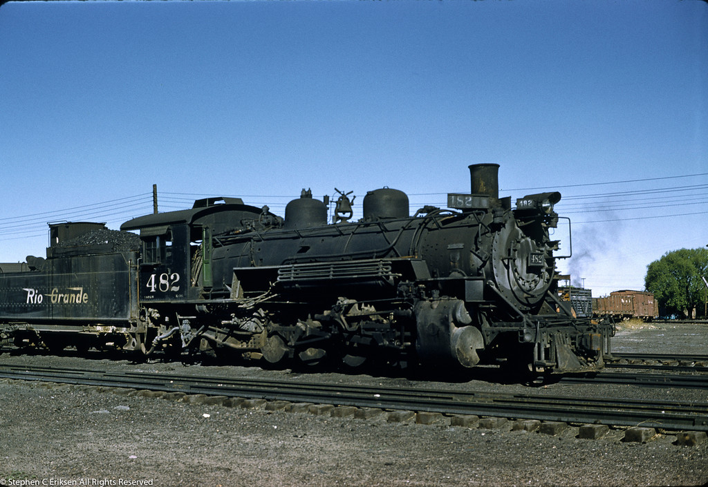 On May 29, 1959 K-36 #482 is found in the Alamosa yards with a tender full of coal.