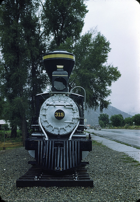 D&RGW #315 rests beside the Chamber of Commerce in Durango in 1954.