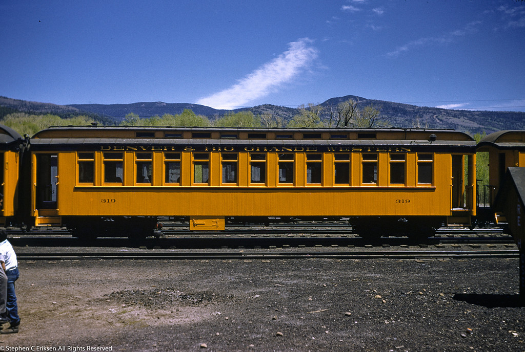 May 28, 1955 Chama, NM narrow window coach #319.