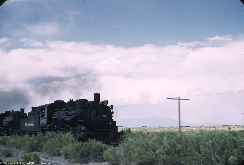 Action shot of a double header near Antonito, Colorado with K-36 #483 at the head end on June 9th, 1957.
