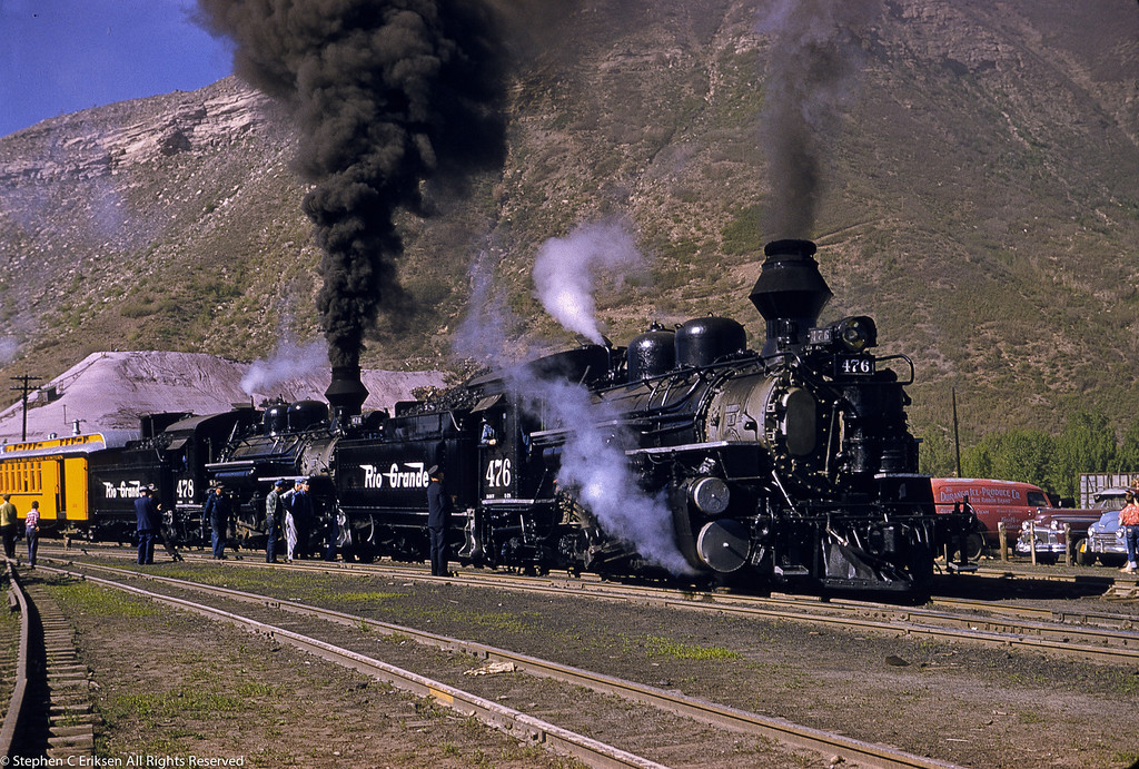 In this view from June 1st 1957, we find K-28's #476 and #478 at the front end of the Silverton.