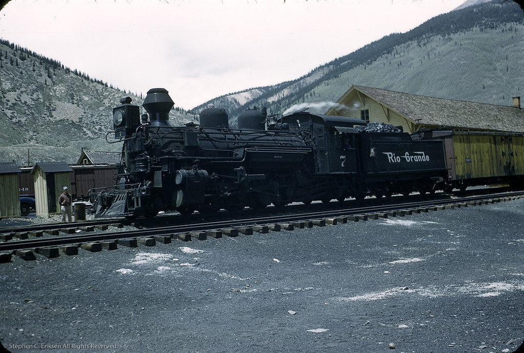 "This Silverton view shows K-28 #476 renumbered as #7 for a movie role in ""Run for Cover""starring James Cagney."
