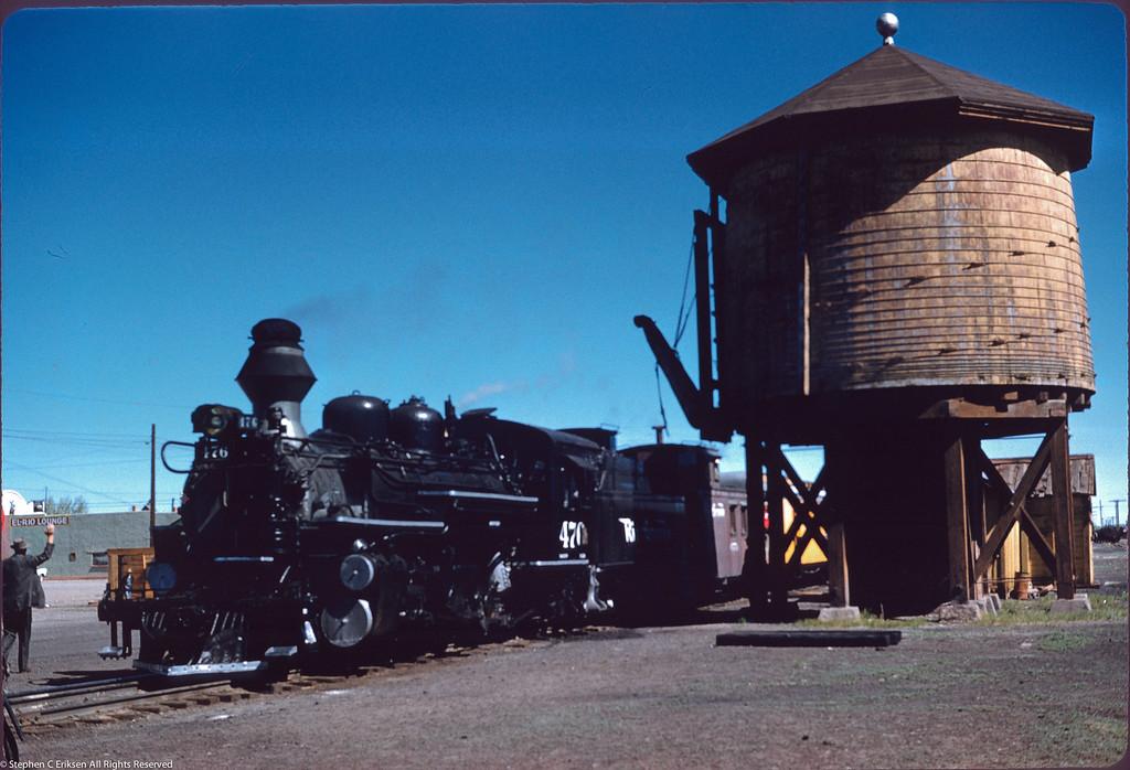 May 29, 1959 and K-28 #476 rests at the Antonito, CO water tank.